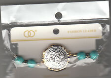 """Bracelet, Cross Medallion With Teal Marble Beads, 4"""" Stretchable, Brand New"""