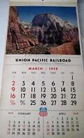 "1958 ""Union Pacific Railroad Calendar"" Has Beautiful Pictures Of the West *"