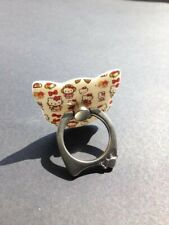 Hello Kitty Stile Gatto Faccia appiccicosa telefono Grip anello titolare con foglie NUOVO
