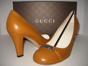 NEW $450 GUCCI US 8 EU 38.5 Brown Leather Logo Classic Pumps High Heels Shoes BX