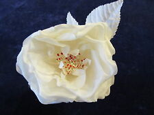 "Vintage Millinery Flower Rose 4"" White Silk for Hat Wedding or Hair KL8"