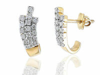 Pave 0,70 Carats Naturel Diamants Clous Boucles d'oreilles En 585 Estampé 14K Or