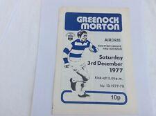 Greemnock Morton  v Airdrie Scottish Leauge First Division December 1977