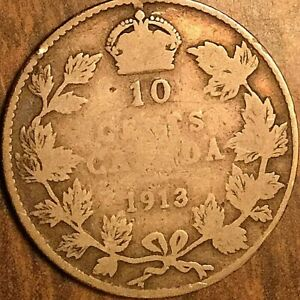 1913 CANADA SILVER 10 CENTS COIN - Broad leaves