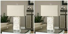 TWO NEW LAYERED CAPIZ SHELL TABLE LAMP LINEN SHADE CRYSTAL FOOT UTTERMOST PAIR