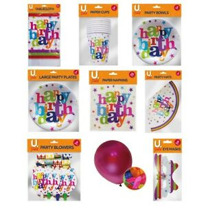 PARTY TABLEWARE  Birthday Events Catering Decoration Paper Plates Cups Balloons