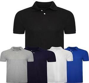 Men Plain Colard Polo shirt Pique Short Sleeve Casual Fit Top Sports S-XXL