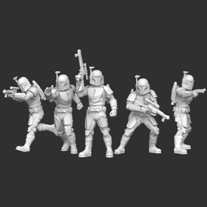 Star Wars Legion - Death Watch Mandalorian Squad (5) 3D Resin Printed Unit