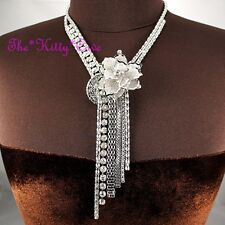 Stunning Silver Deco Lace Floral Flower Tassels Mesh Statement Crystal Necklace
