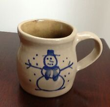 SIGNED BEAUMONT BROTHERS POTTERY Salt Glazed Cobalt SNOWMAN MUG 8 oz Signed BBP