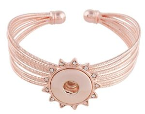 Rose Gold Rhinestone Sun 18-20mm Snap Charm Bracelet For Ginger Snaps Jewelry