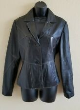 Wilsons Leather Maxima Soft Black Jacket Lined Two Buttons Women's Size Medium
