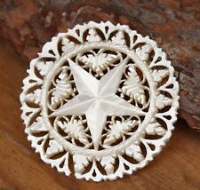Vintage Brooch Pin Carved Mother of Pearl Star Jewellery Jewelry White 30s 40s