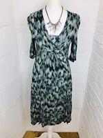 LAUNDRY UK6/8 XS Northern Lights Dress Jersey Knee Length V Neck Empire Waist