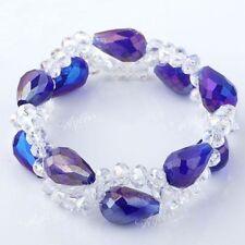 UK Shiny faceted crystal glass beads stretchy strand Bracelet rhinestone 1133