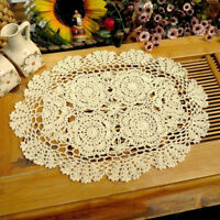 "4Pcs/Lot Vintage Hand Crochet Doilies Oval Lace Doily Table Runner Mats 11""x17"""