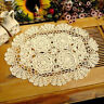"Ecru Vintage Hand Crochet Lace Doily Oval Table Placemat 12""X17"" Floral Pattern"