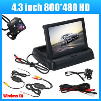 4.3'' Foldable TFT LCD Monitor Wireless Car Rear View System Backup Reverse