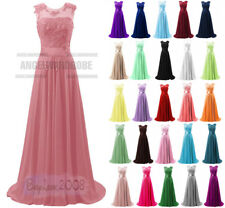 Bridesmaid Dress Long Evening Formal Party Ball Gown Prom Chiffon Lace Size 8~26