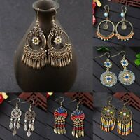 Retro Bohemian Ethnic Tassel Colorful Wooden Beads Dangle Stud Women Earrings