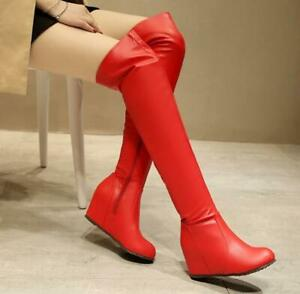 Womens faux Leather Hidden Wedge High Heels Over Knee High Boots Shoes 2020 New