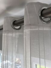 Pair Of Eyelet Top White Striped Voile Panels