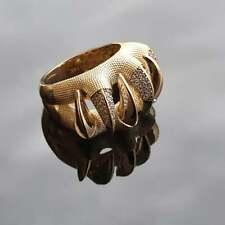 Unique Dragon Claw Round Diamond 14K Yellow Gold Over Dragon Claw Men's Ring