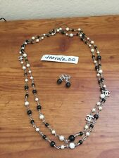 Authentic Black White Chanel Rhinestone Cc Pearl Stone Earrings Necklace Set