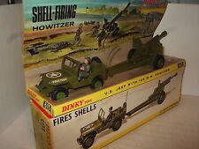 Vintage rare dinky 615 U.S. jeep, chauffeur et 105 mm howitzer obus incendies