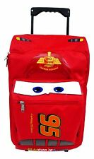 "Cars Disney Lightning McQueen 3D Shape Large 18"" Rolling Luggage Book Bag"