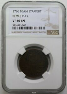 1786 Straight Beam New Jersey Colonial Copper Coin - NGC VF 20 BN