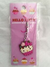 Hello Kitty Cupcake Cellphone Charm Bag Charm Rare Kawaii Sanrio Trinkets White