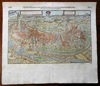 Siemern Rhineland Palatinate 1598 Munster Cosmography wood cut print city view
