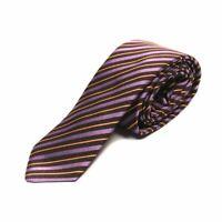 B MORE Tie Purple & Brown Stripe 100% Silk ZB 2010