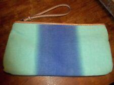 Ann Taylor LOFT Canvas Wristlet BLUE GREEN W/STRAP