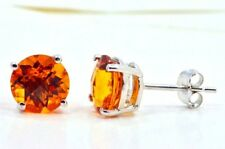 2 Ct Citrine 6mm Round Stud Earrings White Gold Silver