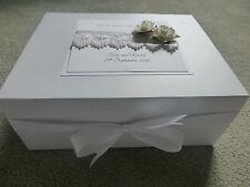 Large Wedding Keepsake Box Personalised Memory Box Ivory Rose  Diamante Pearl