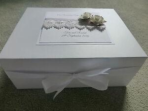 Extra Large Wedding Keepsake/Memory Box Personalised Ivory Rose 40x30x15cm