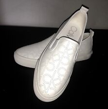 Brand New Calvin Klein SIGNATURE CK Logo Flats Slipon SNEAKER SHOES 6 White