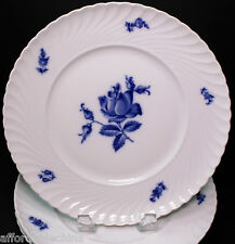 Royal Tettau Germany Set of Four Copenhagen Rose Blue Dinner Plates RARE & MINT