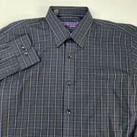 Ragazzo Uomo Dress Shirt Men's 18R Long Sleeve Black Purple Plaid 100% Cotton