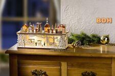 Fensterbild Weihnachtsmarkt mit LED Lichterhaus Schwippbogen Advent Holz Batt.