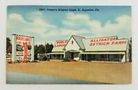 Postcard Linen Casper's Alligator Jungle Ostrich Farm St. Augustine Florida 1952
