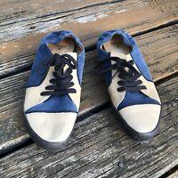 John FLUEVOG Desires TUTOR Blue Tan oxford Sneakers 9 Womens Suede Leather Shoes