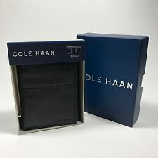 Cole Haan Men's Tri-Fold Pebbled Genuine Leather Wallet.Black.MSRP.$88.00