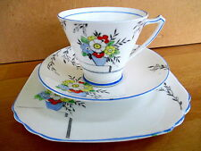 "Art Deco / Vintage China Tea Set Trio.Heathcote China.""The Glade"",.British."