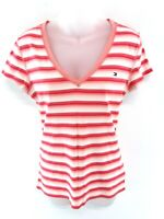 TOMMY HILFIGER Womens T Shirt Top L Large Pink White Stripes Cotton