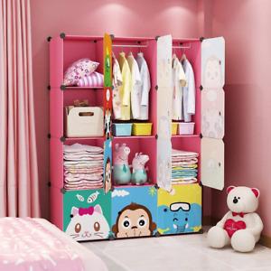 Children Wardrobe Kid Dresser Cute Baby Portable Closet Hanging Storage Rack