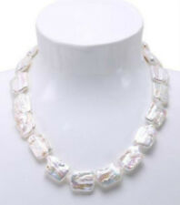 "Natural 15x20mm White Retangle Shape Baroque Freshwater Pearl Necklace 18"" AAA"
