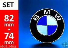 2x FOR BMW 82+74mm blue white emblem (2pcs) hood or trunk